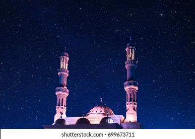 Mysterious mosque against the background of the starry sky. Dubai, United Arab Emirates