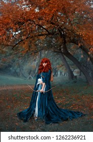 a mysterious red-haired warrior girl stands guard over her land, a elven princess holds a bow and arrows, preparing for battle, an attractive woman in a misty forest alone, gothic style, cool colors