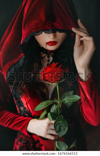 Mysterious Scary Silhouette Beautiful Gothic Woman Stock Photo Edit Now 1676166511