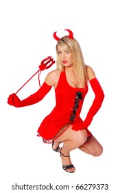Mysterious sexy woman in a devil costume