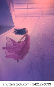 mysterious sleeping girl with long flowing black hair, levitating beauty in long flying pink tender dress, sinking lady in red light goes to bottom and algae, sea jellyfish in human form, water nymph