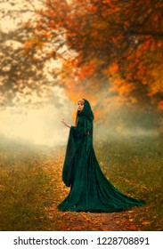 mysterious stranger the ghost turned around on a path in the forest, in a green emerald cloak with a hood and wide sleeves, stands in the red orange foggy autumn forest a sorceress with fiery red hair