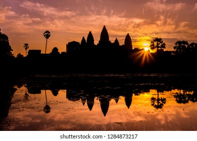 Mysterious towers of ancient Angkor Wat in Cambodia