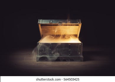 Mysterious treasure chest with smoke