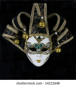 Mysterious venetian mask - isolated on black background