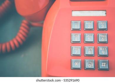 Mysterious vintage telephone , retro color tone