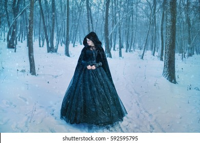 Mysterious woman in black