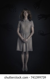 Mysterious woman ghost on dark background. Halloween scene