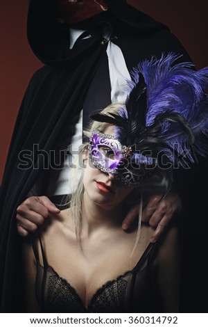 387ef5af8c192 Mysterious Woman Lingerie Wearing Venetian Mask Stock Photo (Edit ...