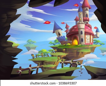 Mystery Castle with Fantastic, Realistic and Futuristic Style. Video Game's Digital CG Artwork, Concept Illustration, Realistic Cartoon Style Scene Design