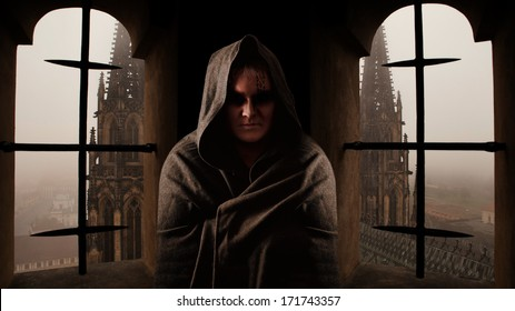 Mystery monk with the runes on the face. Sanctus Vitus church on the background.