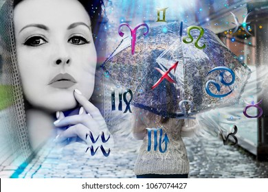 Mystery woman and zodiac signs