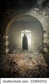 mystic apparition of a ghost in a medieval castle