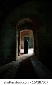 Mystic apparition of a ghost in an old castle