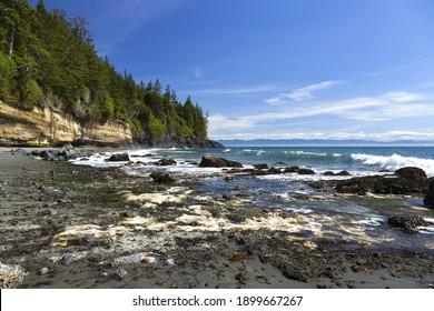 Mystic Beach Waterfront Juan De Fuca Famous Marine Hiking Trail Pacific Ocean Coastline at Vancouver Island BC Canada - Shutterstock ID 1899667267