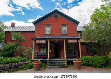 Mystic, Canada - june 2020 : Restaurant located in a former general store in the picturesque village of Mystic
