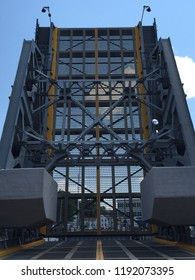 MYSTIC, CONNECTICUT - JUL 16: The Mystic River Bascule Bridge in Mystic, Connecticut, as seen on July 16, 2015. This historical drawbridge spanning the Mystic River was built in 1920.