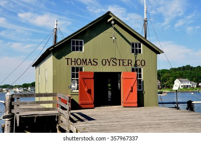 Mystic, Connecticut - July 11, 2015:  1874 Thomas Oyster Co. house at Mystic Seaport was originally from New Haven, Connecticut