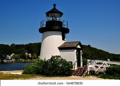 Mystic, Connecticut- July 11, 2015:  1966 Brant Point Lighthouse, a replica of the original 18th century Nantucket lighthouse, at the Mystic Seaport Museum *