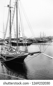 Mystic, Connecticut, USA, Sailing ship on a foggy dayat Mystic Seaport, May 9, 2003
