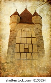 mystic gothic tower - picture in retro style