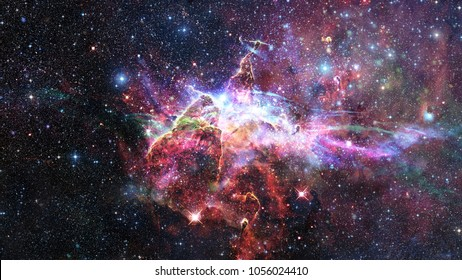Mystic Mountain. Region in the Carina Nebula imaged by the Hubble Space Telescope. Elements of this image furnished by NASA.
