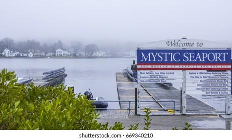 Mystic seaport museum at Mystic River - MYSTIC / CONNECTICUT - APRIL 5, 2017