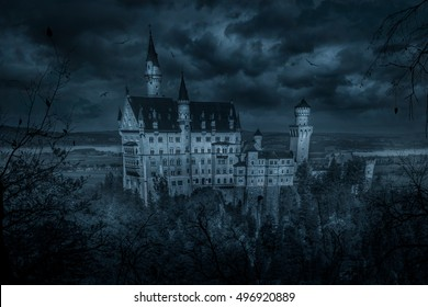 Mystic spooky castle in moonlight