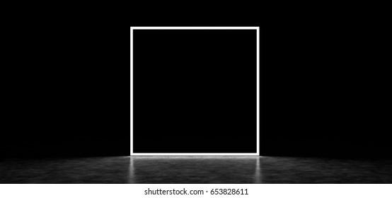 Mystic square luminous frame in a dark space. 3D Render