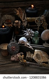 mystic still life with candles and amulet. Witchcraft composition with skull, candles, amulet. Halloween and occult concept, magic ritual. mystical and Gothic. soft selective focus