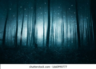 Mystic tourquoise blue foggy forest with blurry fireflies.