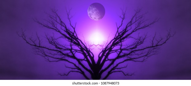 Mystic Tree of Life. Moon in the Sky. Sunset or Sunrise. 3D rendering