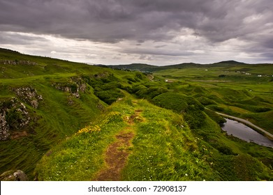 A mystic view from a lookout in the fairy land, isle of skye in Scotland
