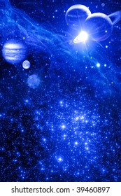 mystical astrological background with stars and planets in blue color