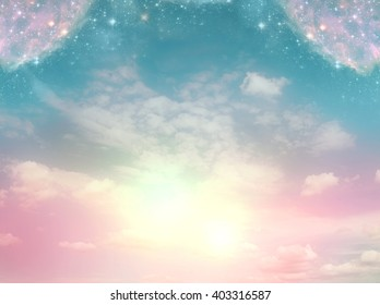 mystical background with divine light and magic stars