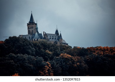 Mystical castle of Wernigerode in the autumn