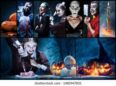 Mystical characters in nightly creative collage made of different photos of 5 models. Concept of horror, Halloween. Pumpking with the candle indside it. Witches, demons, murderers. Autumn's tradition.