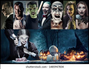 Mystical characters in nightly creative collage made of different photos of 7 models. Concept of horror, Halloween. Pumpking with the candle indside it. Witches, demons, murderers. Autumn's tradition.