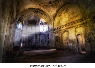 Mystical fantasy haunted abandoned temple. Interior of abandoned church of St. Demetrius of Thessalonica