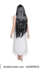 Mystical ghost woman in white long shirt back isolated