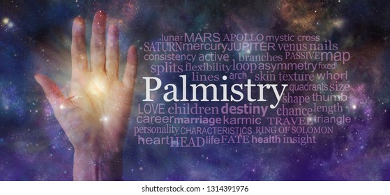 Mystical Palm Reading Word Tag Cloud Background - semi-transparent female open palm beside a PALMISTRY word cloud against an ethereal cosmic dark deep space sky background