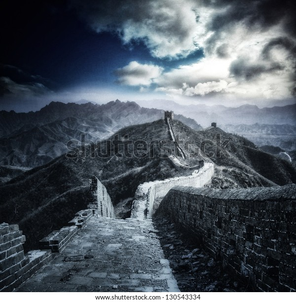 Mystical panorama on Great Wall of China