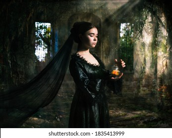 Mystical portrait of a sorceress with a potion