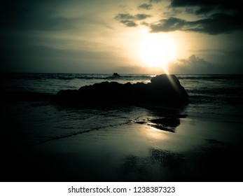 Mystical Shine Sunset View And The Sea Rocks At Batu Bolong Beach, Canggu Village, Badung, Bali, Indonesia