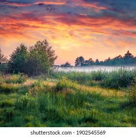 Mystical summer scenery. Wonderful summer sunset on Ukrainian countryside. Superb evening scene of Shatsky National Park, Krymne lake location, Volyn region, Ukraine.