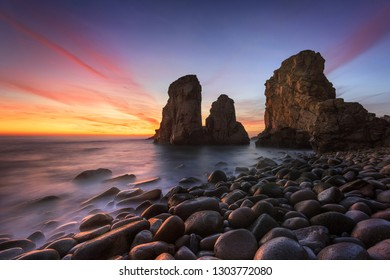 Mystical sunset isolated beach