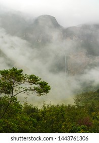 Mystical waft of mist around Gocta waterfall