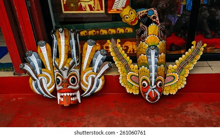 Mystical wooden masks on the island of Sri Lanka