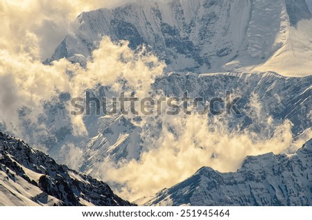 Mystique Clouds Rising Mountains Wonderful Soft Stock Photo (Edit