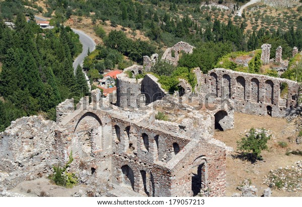 Mystras Archaeological Site Close Sparta Laconia Stock Photo Edit